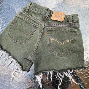 Vintage 80's orange tag Levi's distressed shorts
